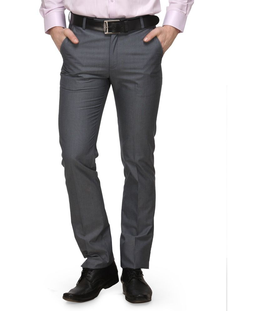 Canary London Gray Cotton Blend Formal Trouser