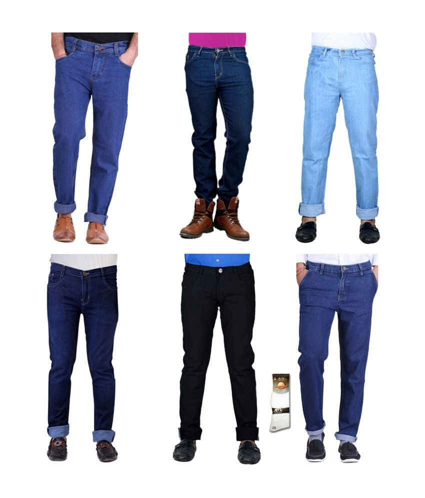 Haltung  Multicolor Cotton Basic Denim Jenas - Combo Of 6