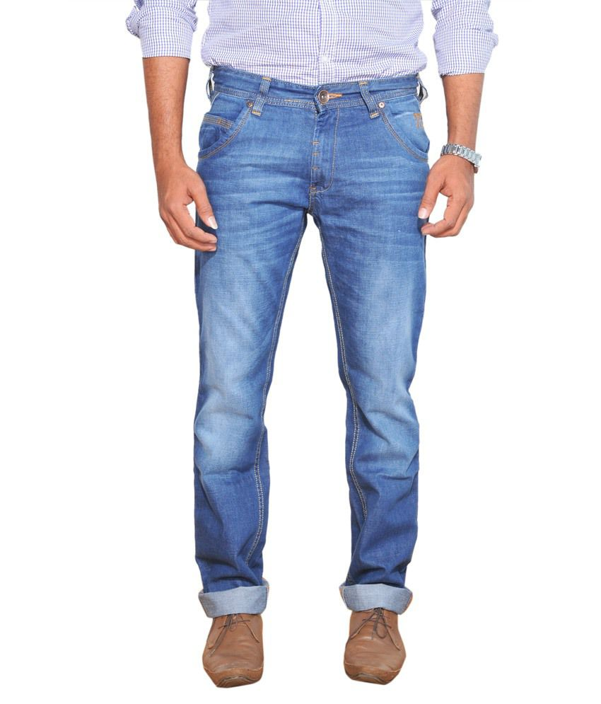 Jeans Expert Blue Cotton Regular Fit Jeans