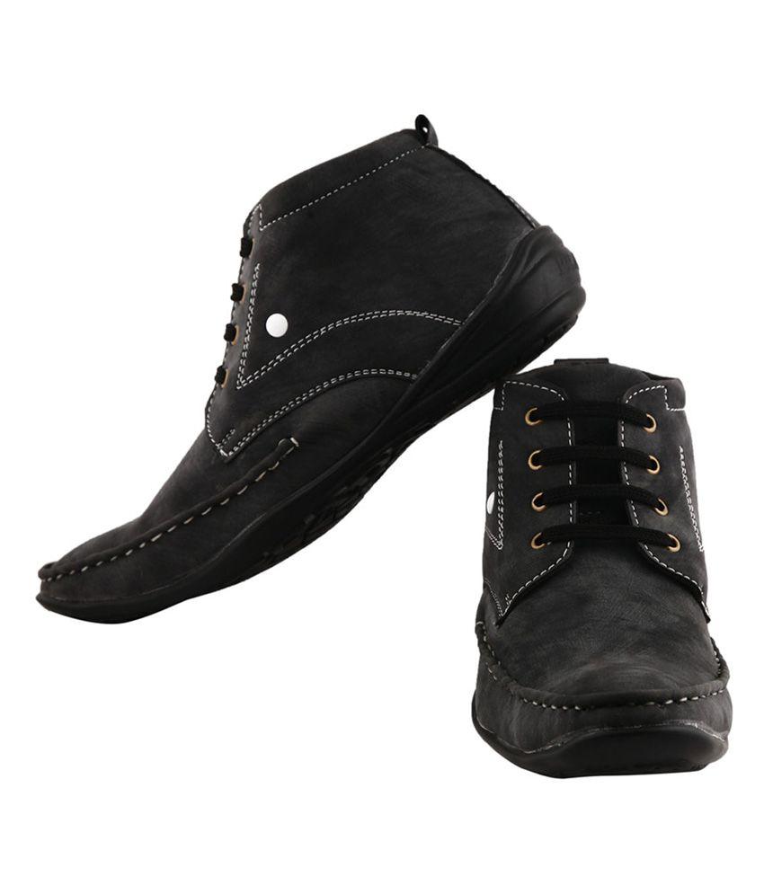 Kraasa Black Premium Quality Leather Boot