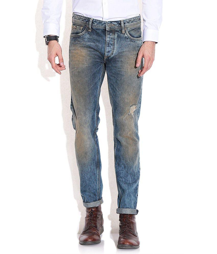 Jack & Jones Blue Cotton Slim Jeans