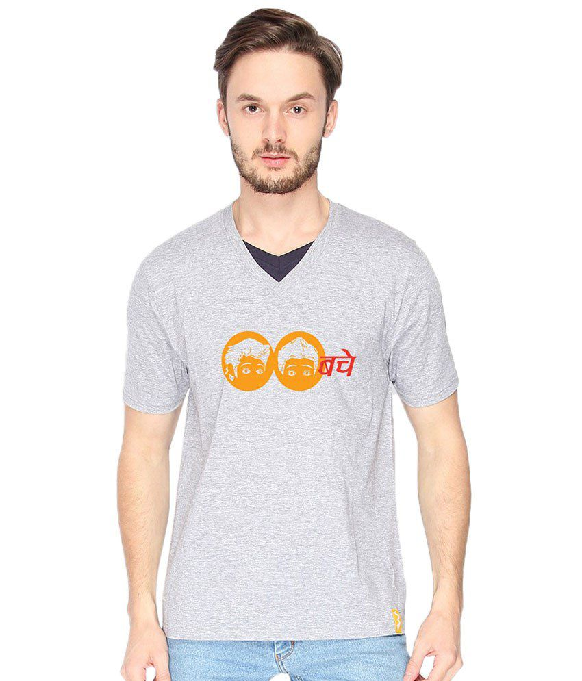 Campus Sutra Bacche Gray & Yellow V Neck T Shirt