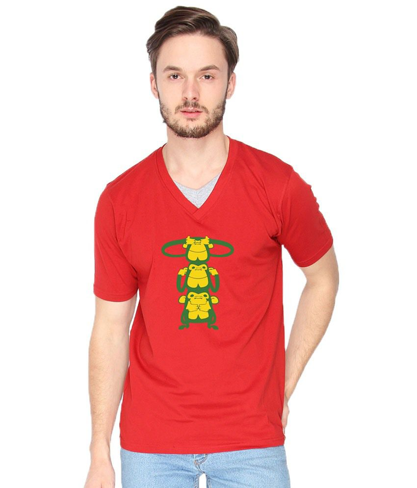 Campus Sutra Three Monkeys Red Graphic T Shirt