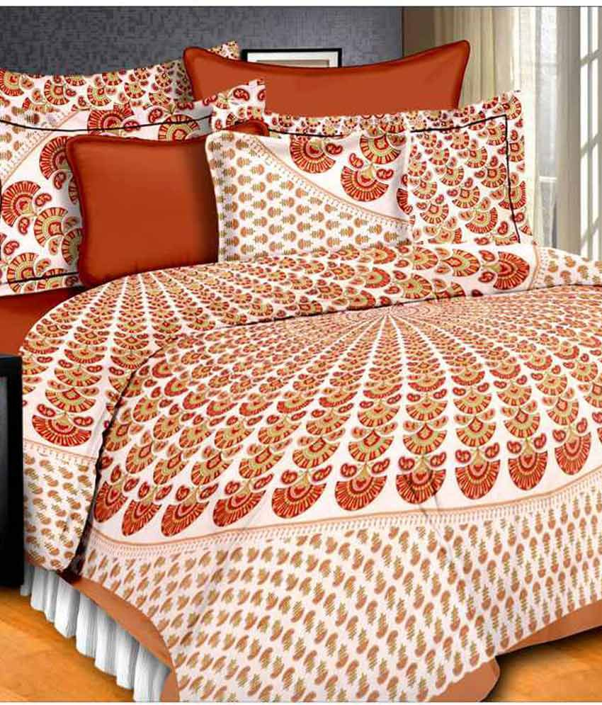 Perfect Sanganeri Floral Printed Multicolour Cotton Double Bedsheet With 2 Pillow Covers