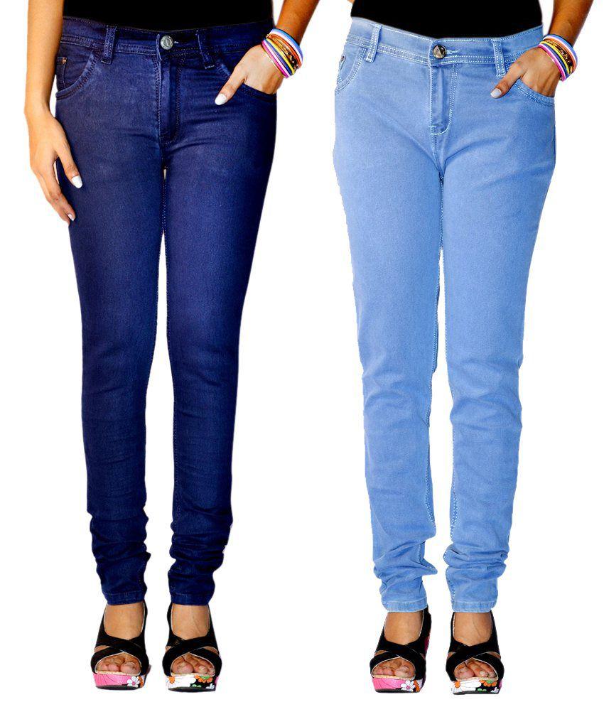 Haltung Multi Color Denim Lycra Jeans