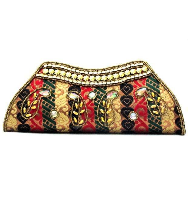 Anshul Fashion Multicolour Canvas Cloth Magnit Button Festival Women Clutch