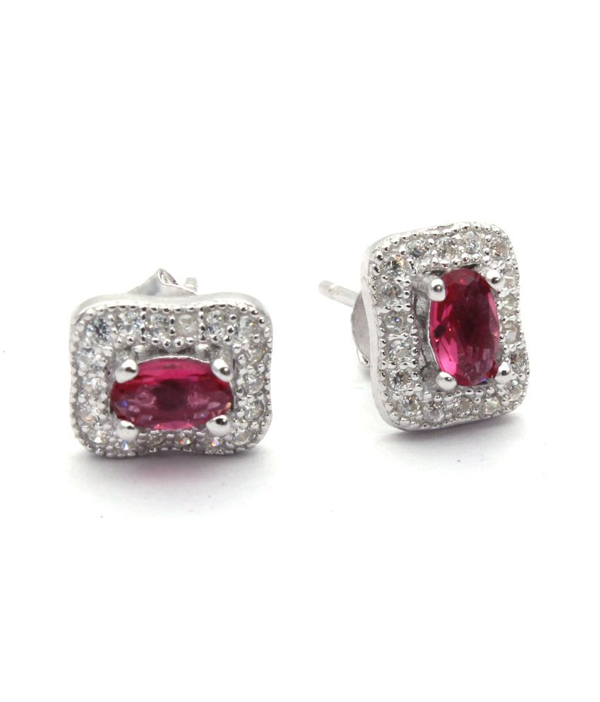 Bl Silver Sterling Silver Cz Studs With Pink Color Stone