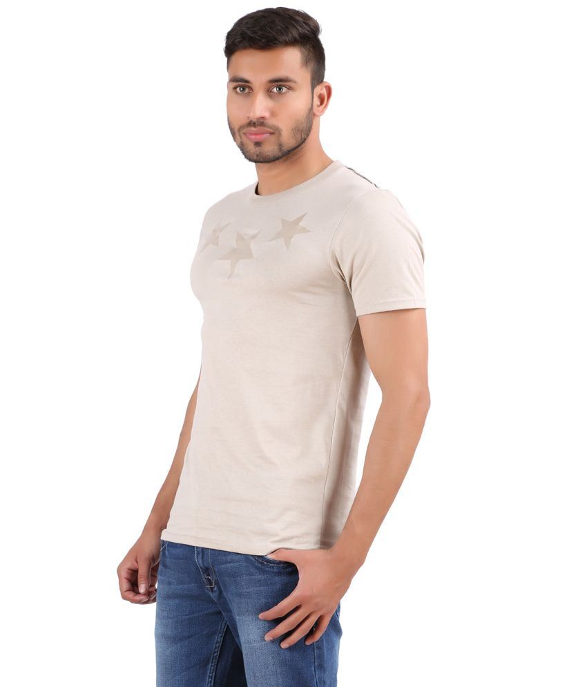 Cotton Blossom Beige Cotton Round Neck Printed Men's T Shirts