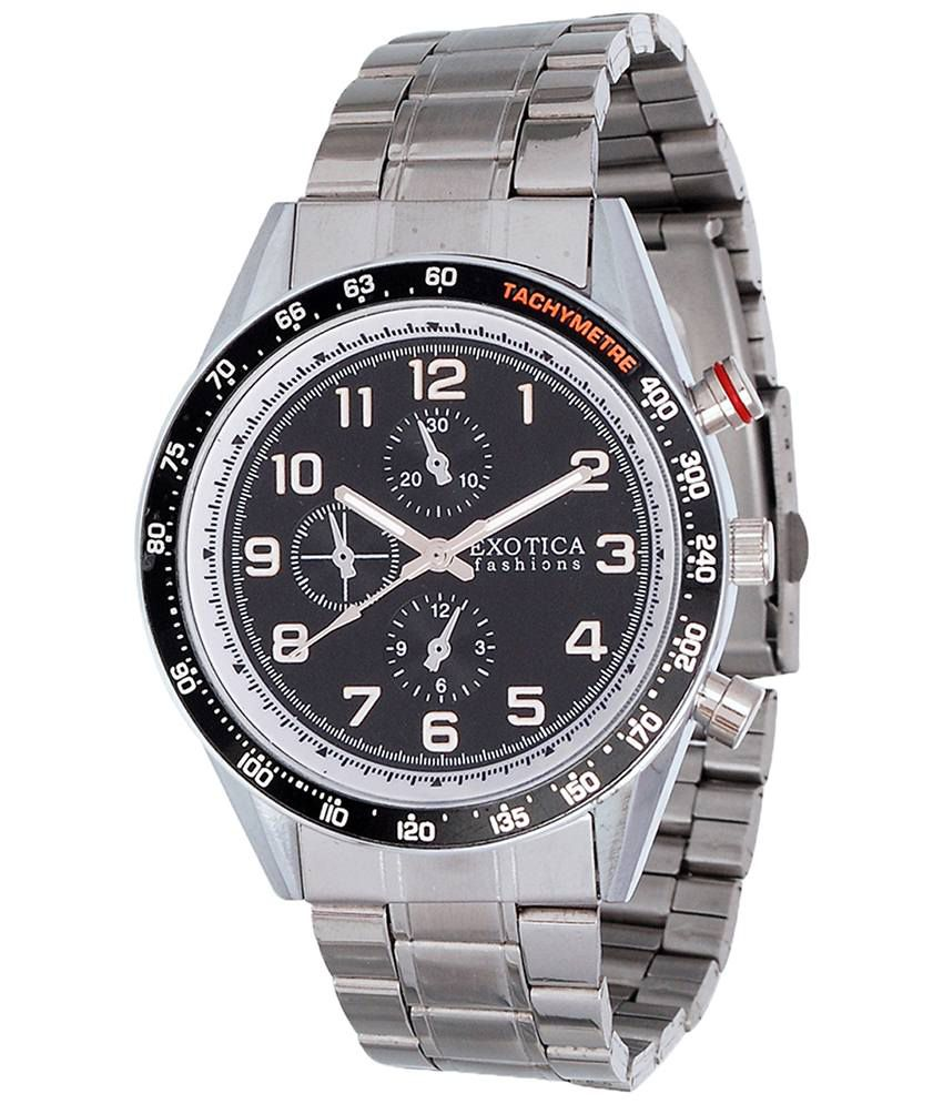 Exotica Fashions Exotica Black & Silver Analogue Wrist Watch For Men