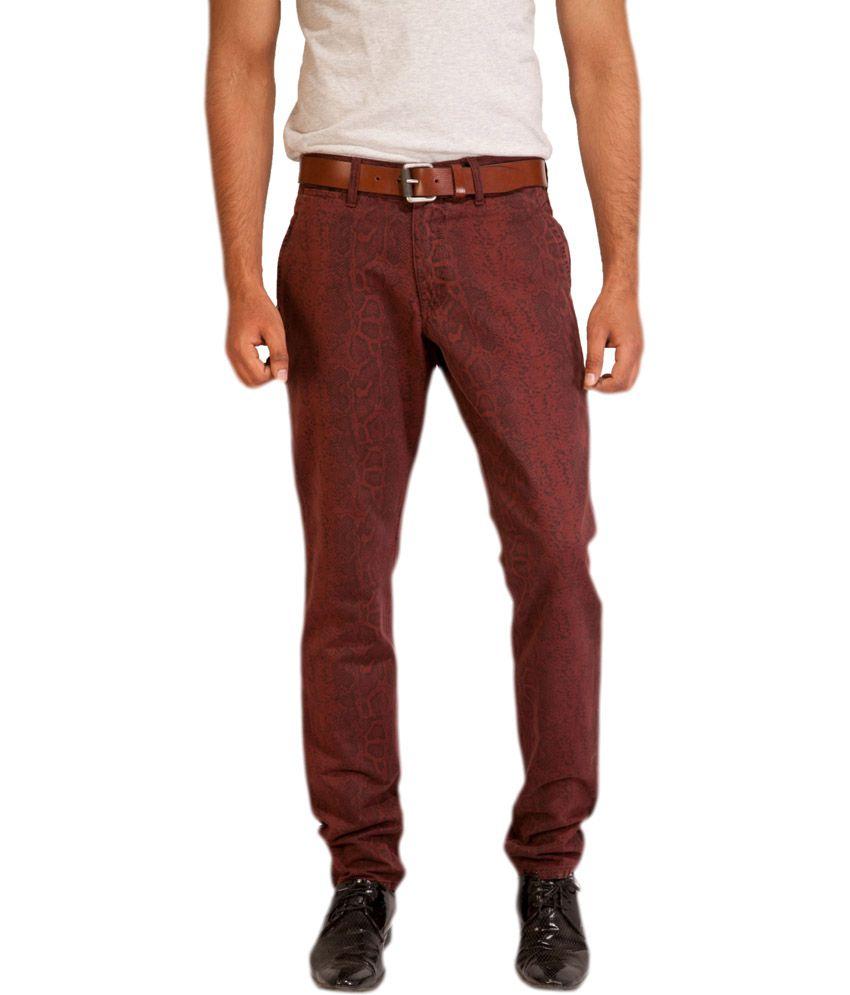 Street Junkies Brown Cotton Printed Slim Fit Trouser
