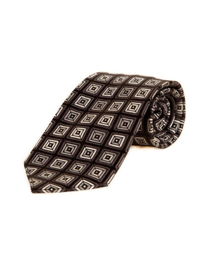 The Vatican Black Base With Checks And Dark Grey, Steel Grey And Cool Grey Box Pattern Tie