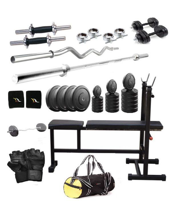 Total Gym 36 Kg Versatile Home Gym Set With2 Dumbbell Rods, 2 Curl, 3 In 1 Bench And Gym Bag
