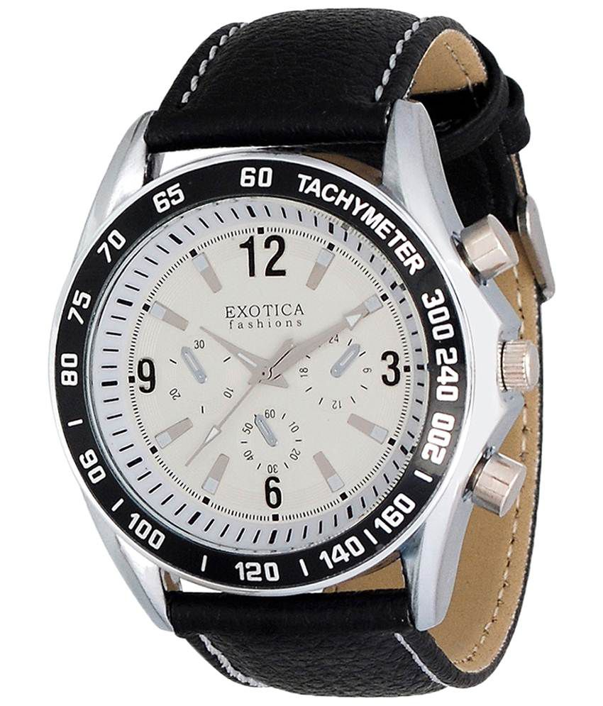Exotica Fashions Exotica White & Black Analogue Wrist Watch For Men
