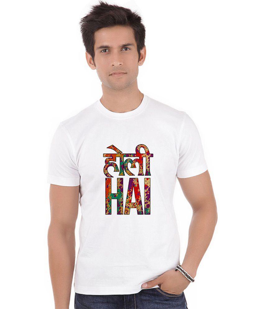 Shopmantra White Polyester T Shirt