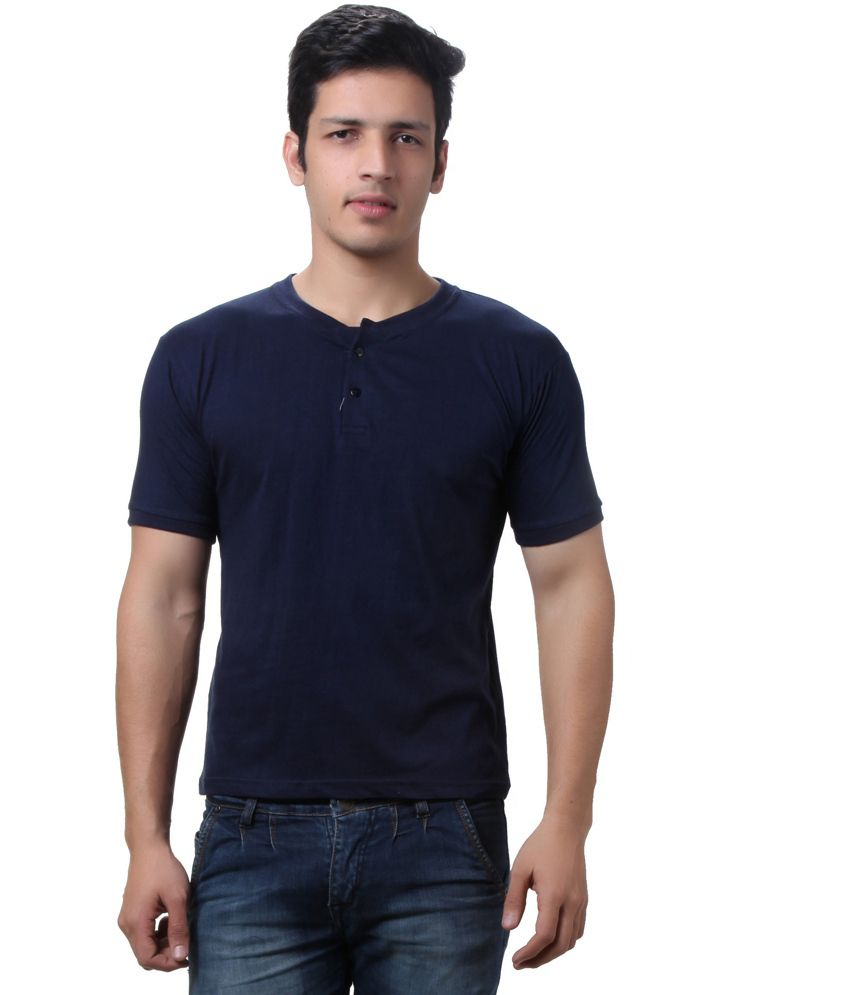 Teemoods Blue Cotton Henley Half Sleeves T-shirt