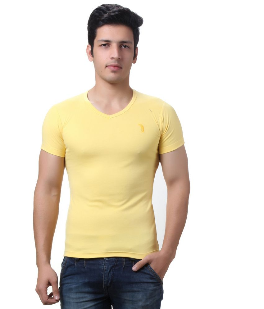 Teemoods Yellow Cotton V-neck Half Sleeves T-shirt