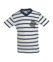 Bio Kid Navy Envelope Neck Stripes Cotton Top