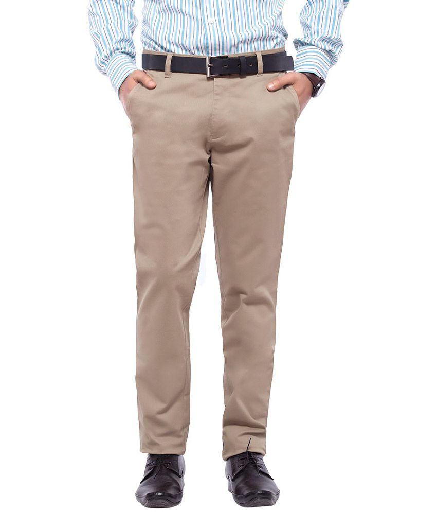 Nrt Khaki Cotton Lycra Trouser