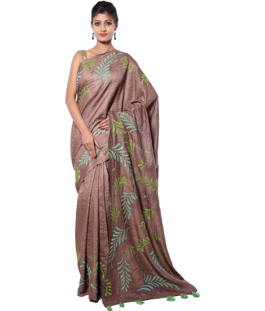 f996738442 Dhiya Maroon Tussar Silk Kantha Work Saree - Buy Dhiya Maroon Tussar Silk  Kantha Work Saree Online at Low Price - Snapdeal.com