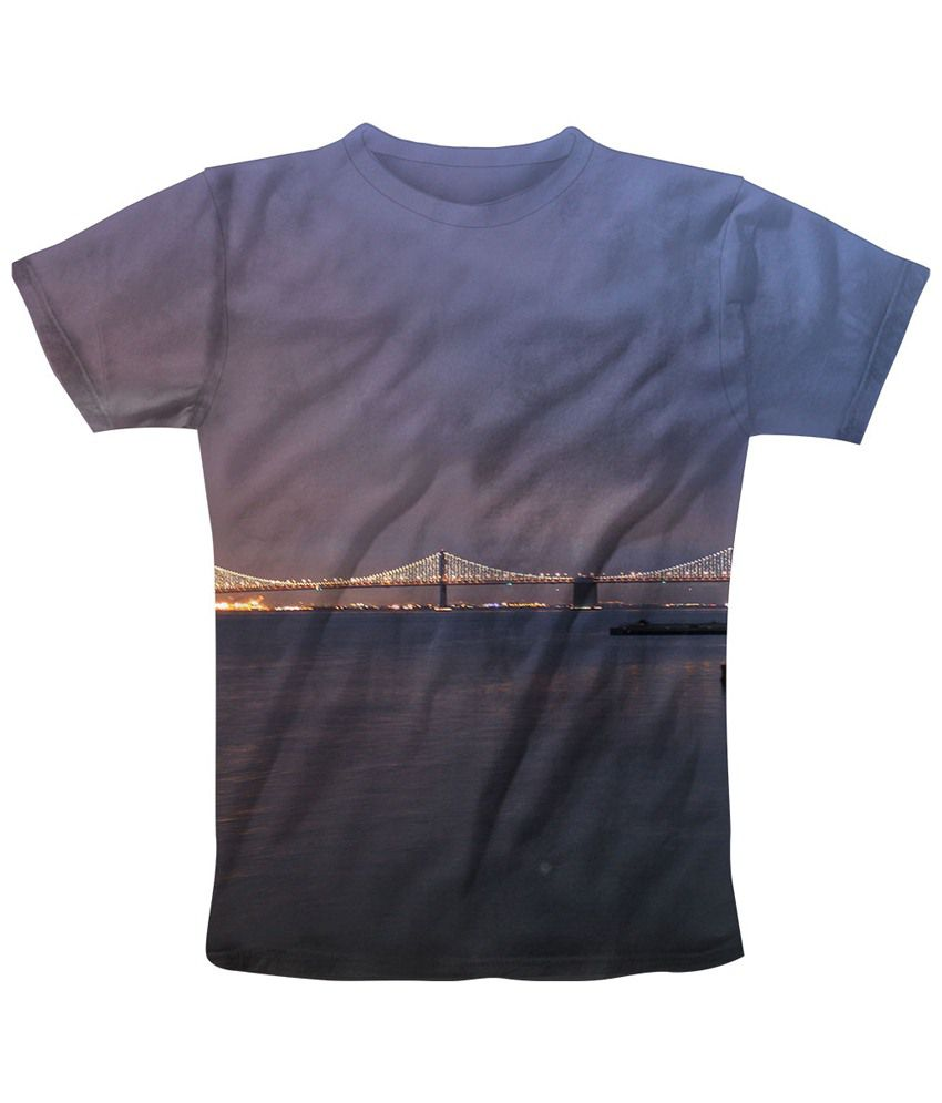 Freecultr Express Blue & Gray Across The Bridge Graphic T Shirt
