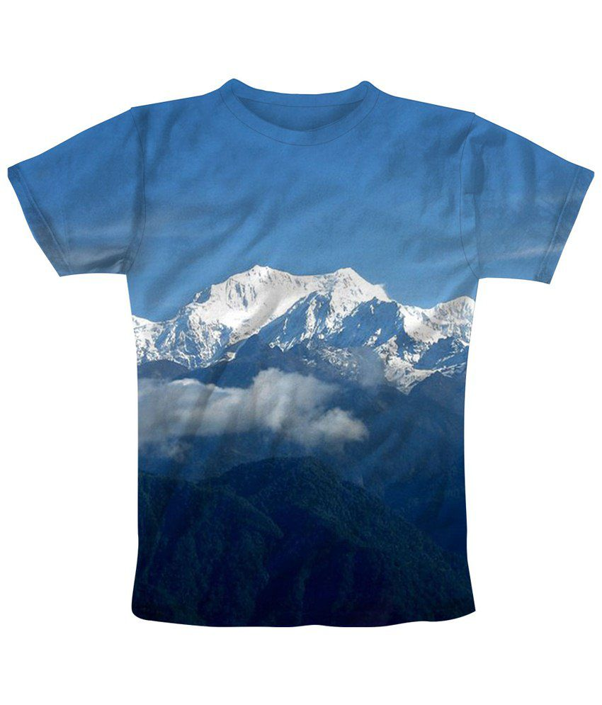 Freecultr Express Blue & White Mountain Echo Half Sleeve T Shirt