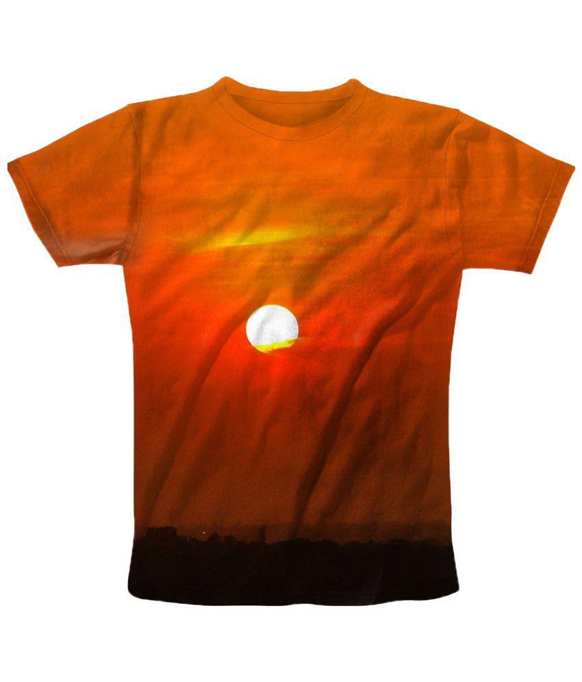 Freecultr Express Enticing Orange Sun Printed T Shirt
