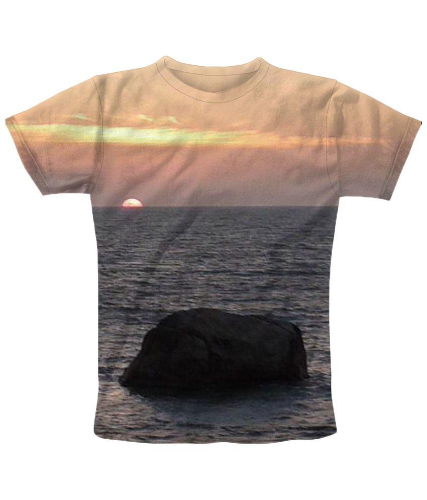 Freecultr Express Orange & Blue Horizon Half Sleeves T Shirt