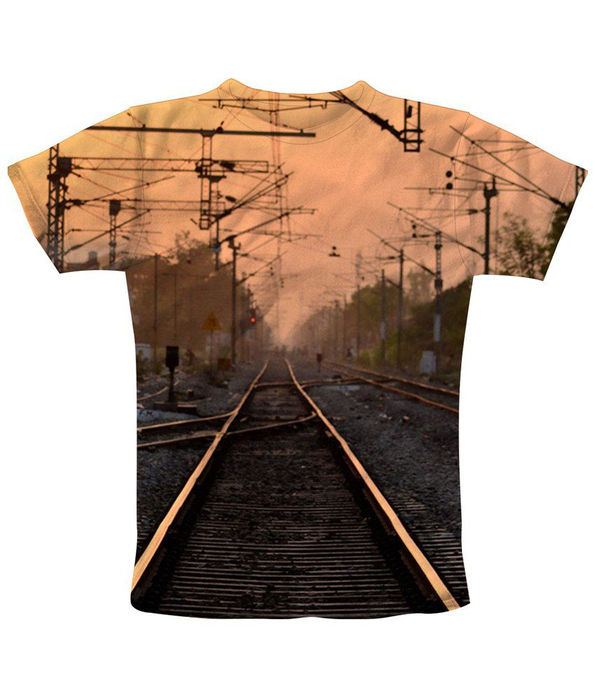 Freecultr Express Simple Orange & Black Rail Line Printed T Shirt