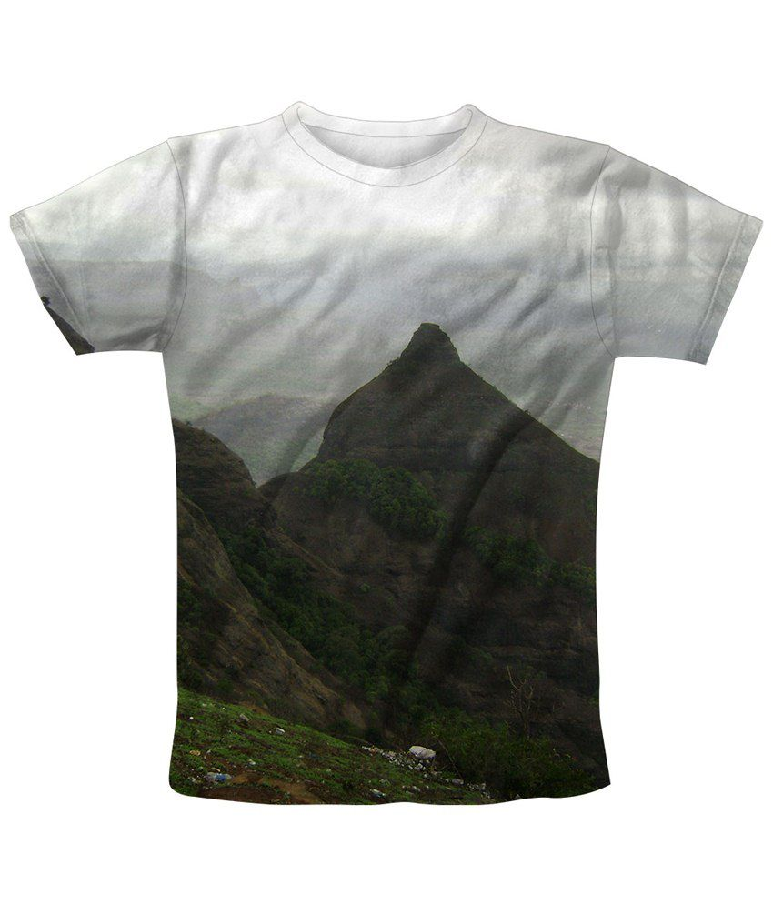 Freecultr Express White & Green Hill Top Graphic Half Sleeves T Shirt