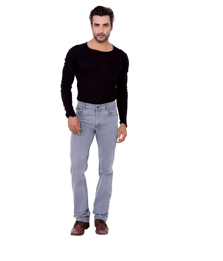 Awack Gray Cotton Straight Fit Jeans