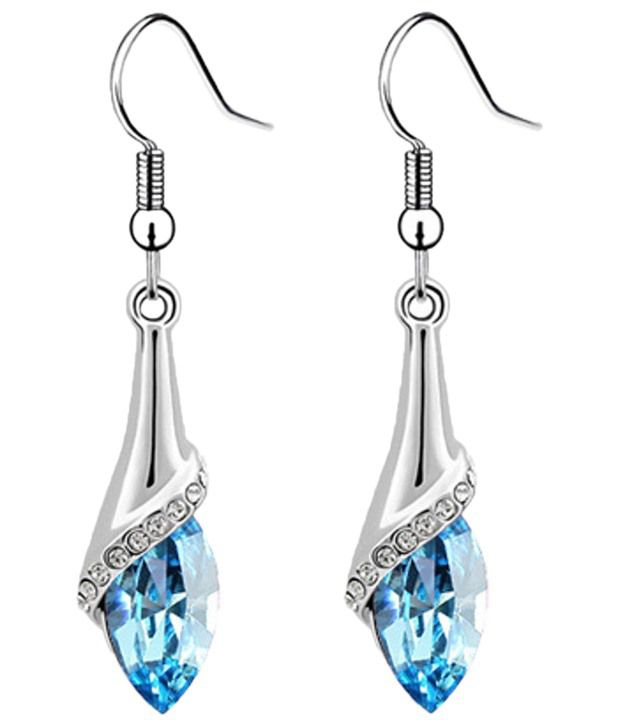 Crunchy Fashion Blue Crystal Hanging Earrings