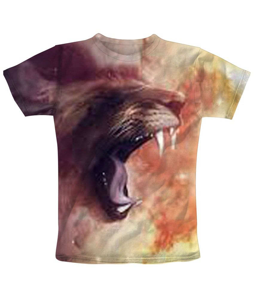 Freecultr Express Brown & Orange Teeth Half Sleeve T Shirt