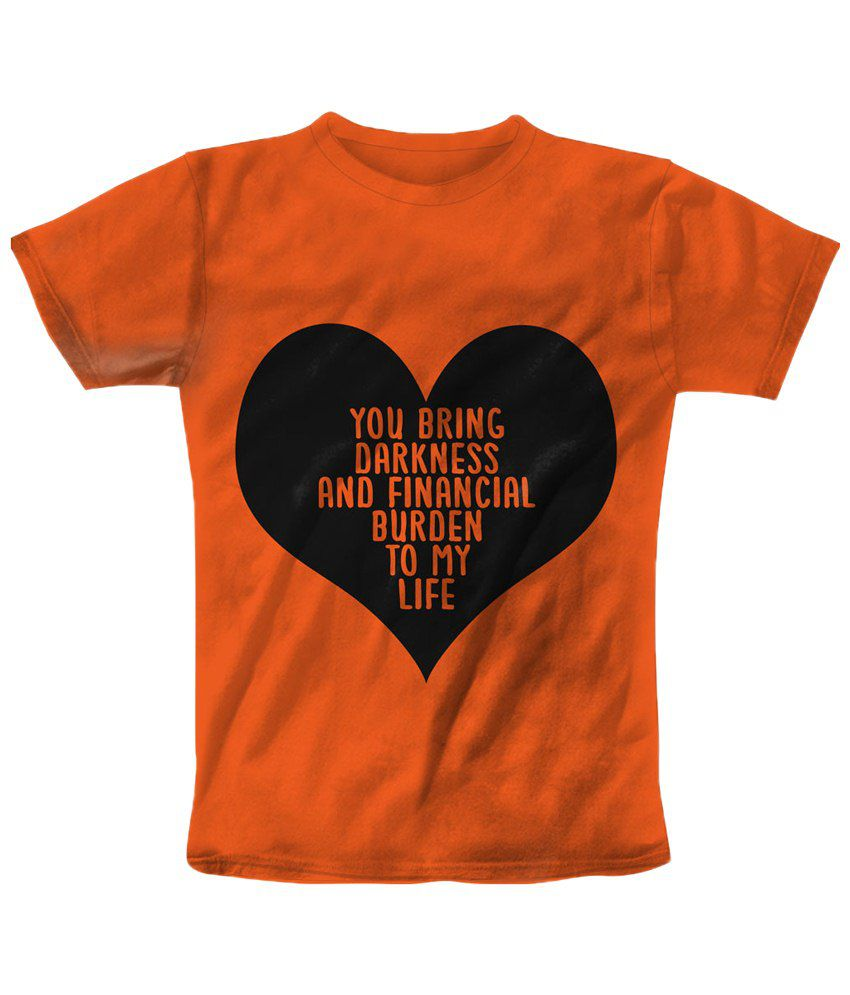 Freecultr Express Orange & Black Financial Burden Graphic T Shirt