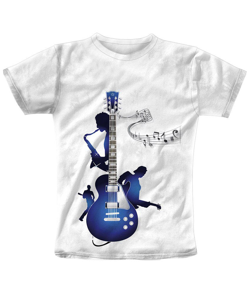 Freecultr Express White & Blue Guitar White Half Sleeve T Shirt