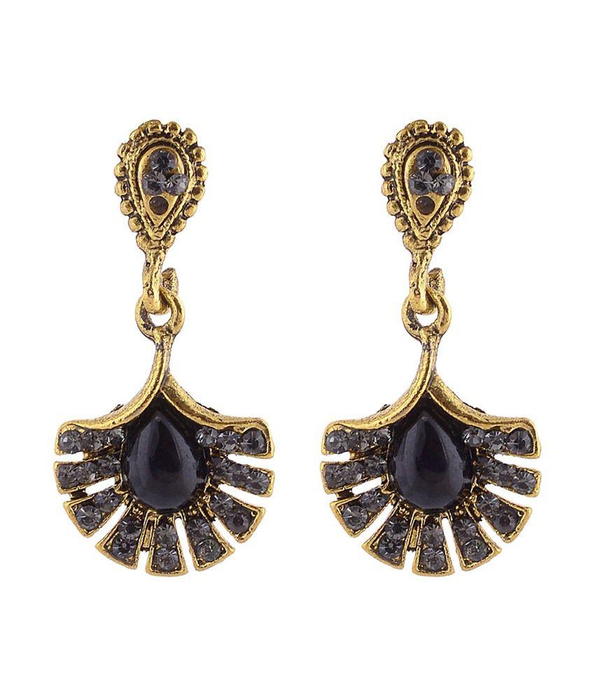Ganapathy Gems Black Designer Hanging Dangle Earrings