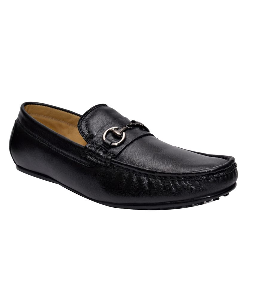 Hirel's Black Leather Men's Loafers