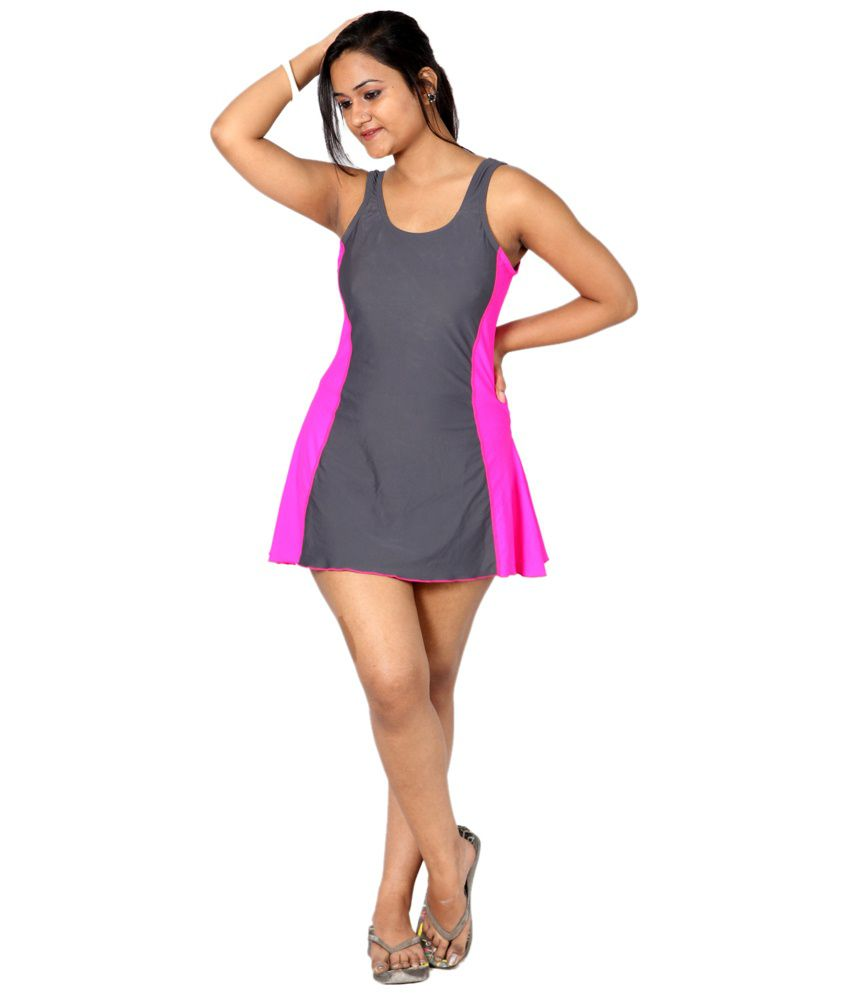 Indraprastha Gray & Neon Pink Swimsuit/ Swimming Costume