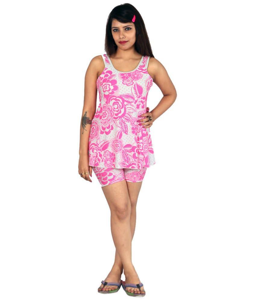 Indraprastha White & Pink Floral Swimsuit/ Swimming Costume