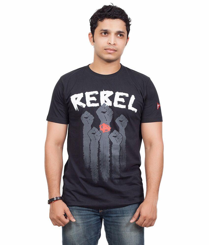 Radical Clothing Rebel Men'S Cotton T Shirt-Black