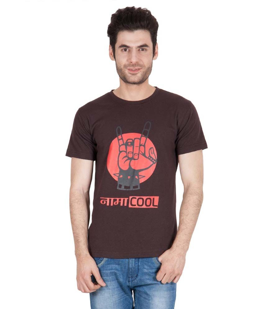 The enthu cutlet men brown printed t shirt buy the enthu for Get t shirts printed