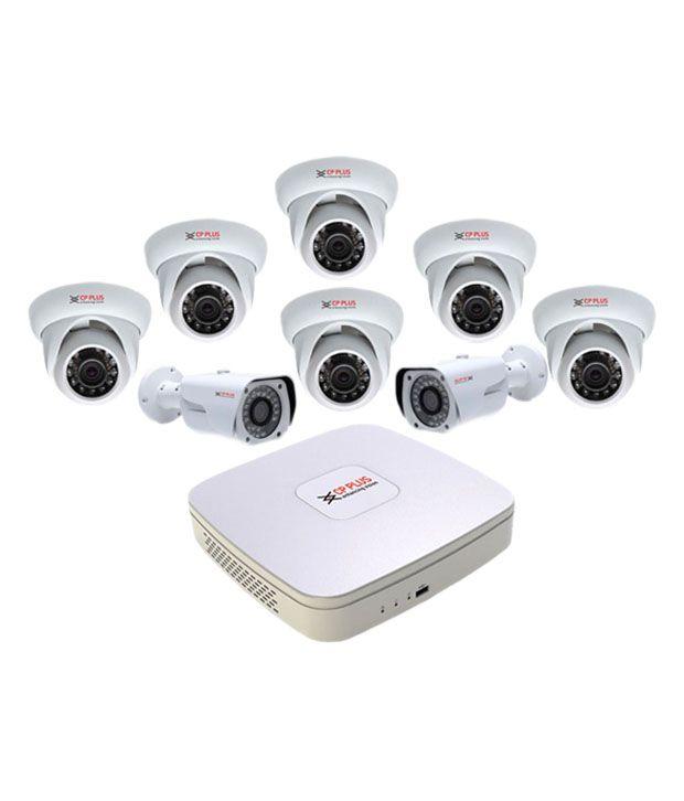 Cp-plus Hdcvi 8 Ch Dvr And 6 Dom Ir & 2 Bullet Ir 1 Mega Pixels Camera Cctv Surveillance System