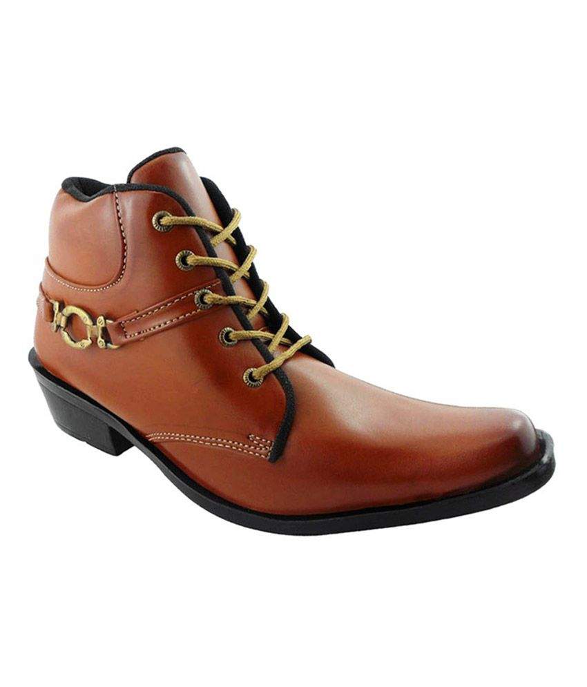 Elvace Tan Synthetic Leather Boots