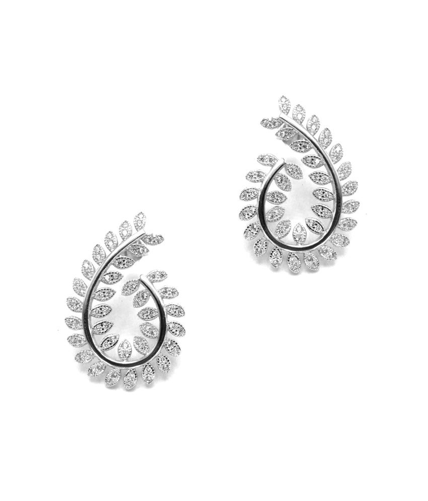 Jewel Craft Circle Of Life Silver 92.5 Sterling Silver Cubic Zirconia Drop Earrings