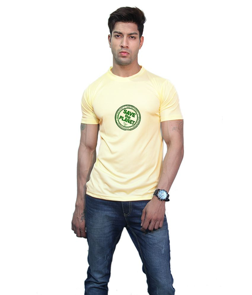 Printland Yellow Printed Half T-shirt