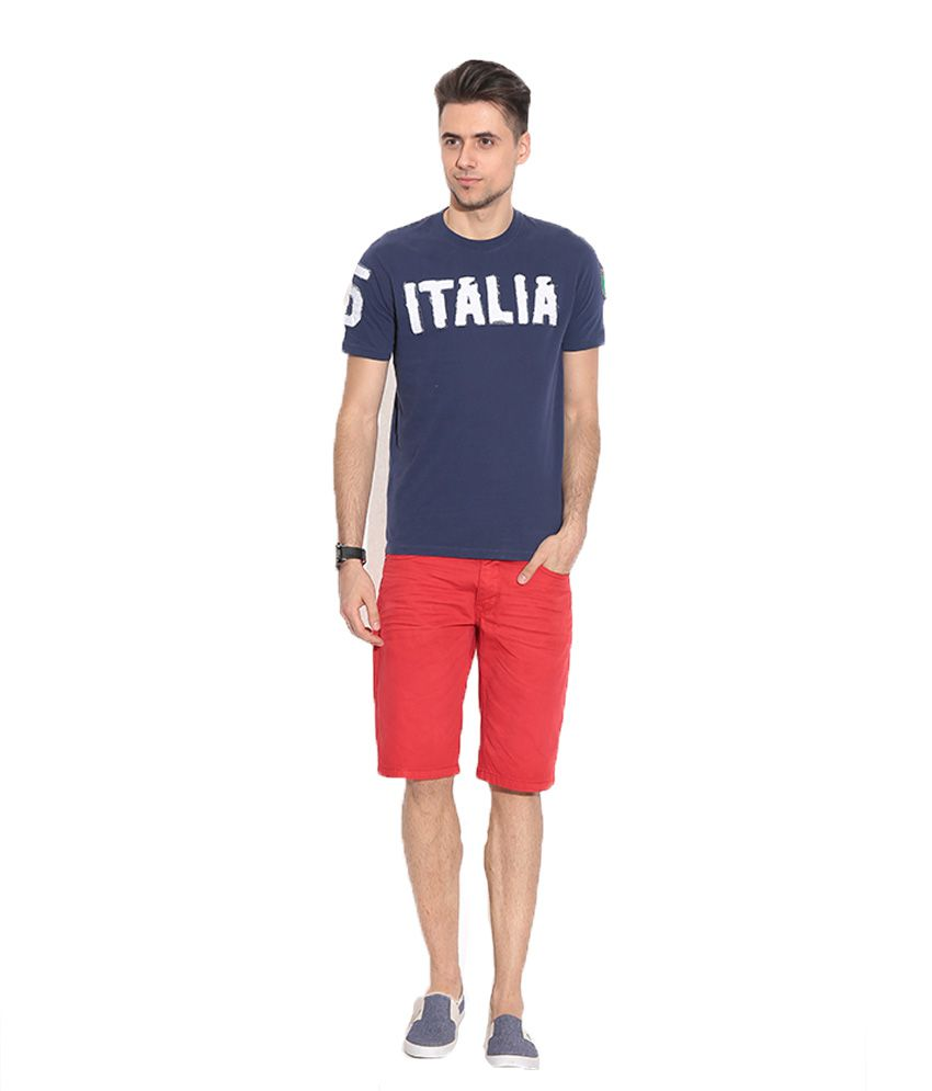 Alcot Navy Blue Cotton Round Neck Half T-Shirt