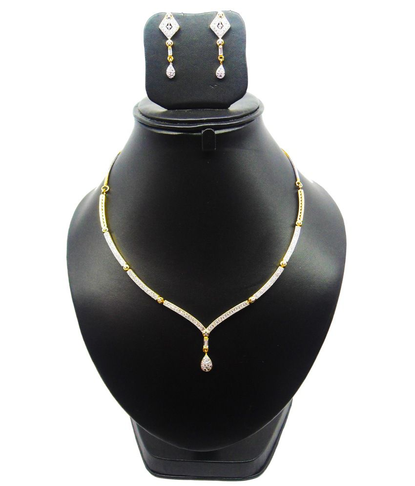 Bling N Beads American Diamond Zircon Sleek and Elegant Necklace set