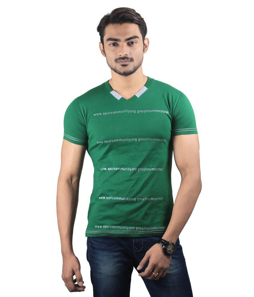 Spur Green New Arrival V Neck Men T Shirt