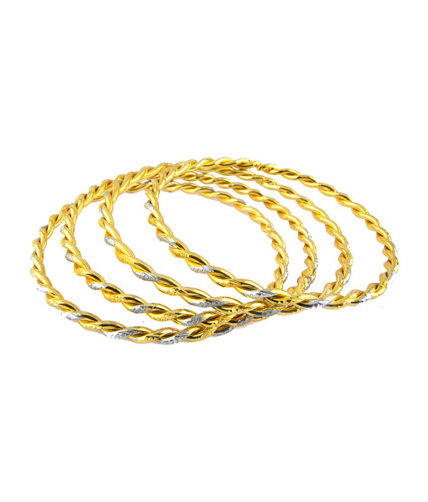 Adhira Twisted Design Gold Plated Bangles (Pair of 4)