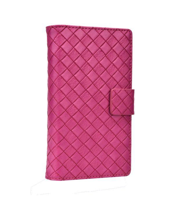Jo Jo Cover Bali Series Leather Pouch Flip Case For Spice Mi-504 Smart Flo Mettle 5X Hot Pink