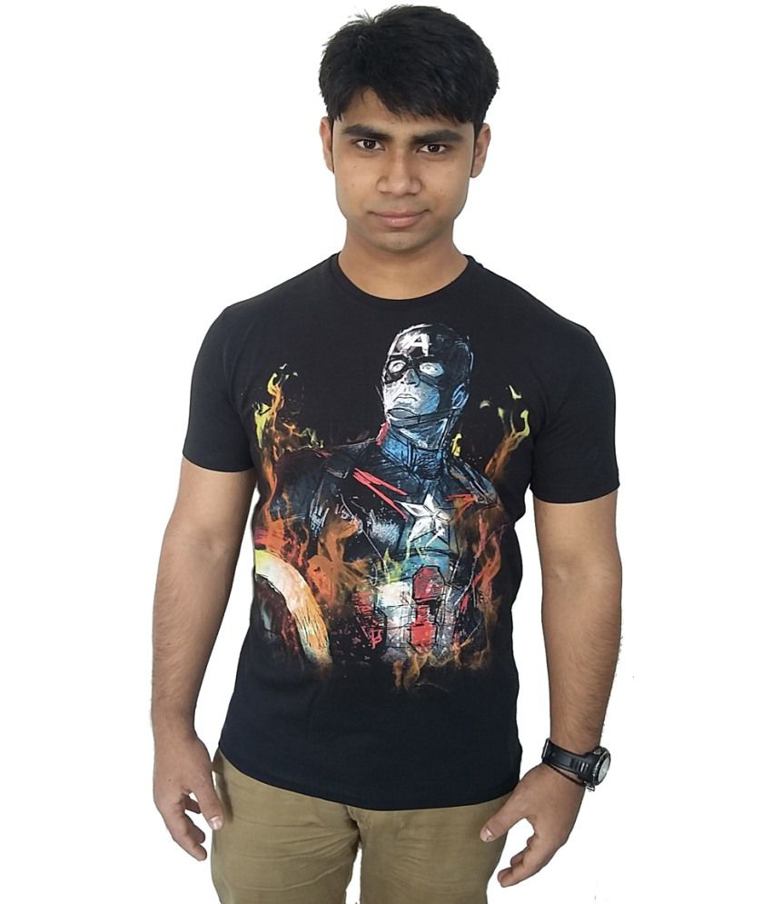 Captain America Black Cotton Tshirt